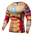 Men Superhero Iron-Man 3D Printed T-Shirt Costume Compression Quick-Drying Tops