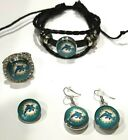 Miami Dolphins NFL Snap Jewelry snap, stretch Ring, Earrings or Bracelet on eBay