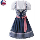 US Traditional Bavarian Dirndl Dress Oktoberfest German Beer Girl Costume Outfit