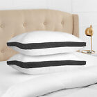 Hypoallergenic Pillow Quilted 2 Pack Queen King Quilted Firm Gusseted Pillows image