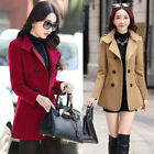 Womens OL Double-breasted Coat Jacket Slim Korean Trench Outwear Casual Overcoat