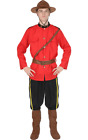 Mens Canadian Mounties Costume Red Police Uniform With Hat Military Fancy Dress