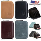 Men Women Wallet Genuine Leather RFID Around Zipper ID Credit Card Holder Purse image