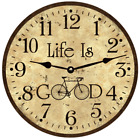 Oversized Rustic Life Is Good Wall Clock- Large Rustic Bicycle Wall Clock