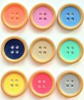 Set of 6 Natural Rim Dish Buttons in 2 Sizes and 9 Soft Shade Colours