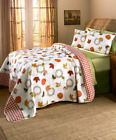 Queen or King Quilt Set Bedding Leaves Pumpkins Fall Decorations Home Decor image