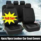 US 5-Sit Car Seat Cover PU Leather Cushion Front Rear Protector Seat Set Black $38.99 USD on eBay