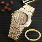 "Hip Hop Unisex Watch Bracelets Set Iced Out Crystal Miami Cuban Chain Jewelry 8"" image"