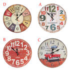 Silent Vintage Wooden Wall Clock Arabic Numerals Non Ticking Chic Retro Clocks