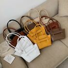 2 Szs Small/ Large Raw Edge Faux Leather Trapeze Shoulder Bag Purse Flap Tote