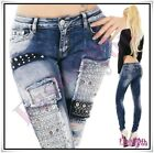 Women's Denim Jeans Sexy Ladies Ripped Skinny Trousers Hipsters Size 6-12 UK
