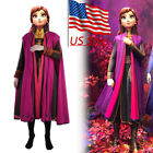Frozen 2 Cosplay Princess Anna Costume Outfit Full Set Halloween Fancy Dress New