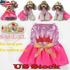 Pet Party Dog Puppy Costume Hat Dress Christmas Halloween Holiday Apparel Set US