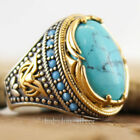 925 Silver Turkish Handmade Turquoise Stone Ottoman Men's Luxury Ring Size 6-10 image