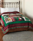 King or Queen Quilt Set Bedding Holiday Vintage Christmas Home Decor Truck Tree image