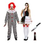 Mens Ladies SCARY JESTER CLOWN COSTUME Halloween Killer Couple Fancy Dress UK