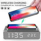 3-in-1 Desk Table Bedside Digital Alarm Clock Wireless Phone Charger Thermometer