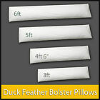Luxury Duck Feather & Down Long Extra Filled Bolster Pillow 100% Cotton Cushion