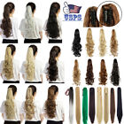 USA Curly Straight Long Ponytail Thick Claw Clip on in Pony Tail Hair Extensions
