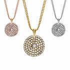 14K Gold, Rose, or Rhodium Plated Large Round Crystal Stud Pendant Necklace image