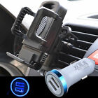 LED Car Charger + Phone Air Vent Mount Holder Stand Charging For Samsung Android