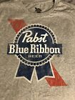 PBR PABST BLUE RIBBON T-Shirt Milwakee Beer Logo Graphic Tee Distressed Gray image