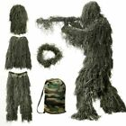 Ghillie Suit 3D Camouflage Camo Tactical Hunting Forest Woodland 4-Piece w/ Bag