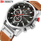 CURREN Men Leather Sports Watches Luxury Brand Male Quartz Calendar Wristwatches image
