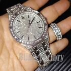 HIP HOP ICED SILVER PT BLING LAB DIAMOND WATCH & FULL ICED RING COMBO GIFT SET image