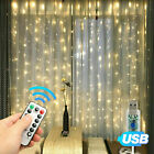 Christmas Outdoor Decoration 3*3M Droop Curtain Icicle String Led Light 110V USA