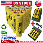 18650 Battery 12000mAh GTL Fire Li-ion 3.7V Rechargeable For LED Flashlight Lot