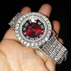 Men's Iced Lab Diamond Metal Band Dress RED Dial wrist Luxury Rapper's Watch