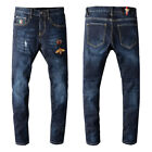 New Italy Pop Style Men Blue Pants Bee Embroidery Skinny Fit Grunge Jeans G702C