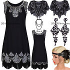 Women's 1920's Vintage Embellished Sequins Beaded Flapper Evening Dress Art Deco