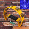 More images of YELLOW Half Moon Cutaway Hand Tambourine Double 16 Jingles FOR Singers / Dancers