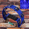 More images of Half Moon Cutaway Hand Tambourine Double 16 Jingles Adults Children Kids Blue