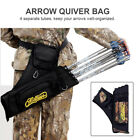 Archery Arrow Back Quiver Bag 4 Tube Hunting Arrow Holder Side Waist Belt Black