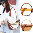 Small Mini Real Leather Half-Moon Contrast Saddle Shoulder Bag Crossbody Purse