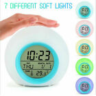 Alarm Clock Digital LED Thermometer Changing Light Night Glowing Clock for Kids