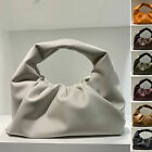 Real Leather Ruched Shoulder Pouch Tote Bag Clip on Clutch Purse Vintage Party