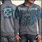 Xtreme Couture Deputy Chain Skull Mens Long Sleeve Zip Front Hoodie Silver S-3XL