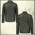 Archaic Fleur Moto Metal Studs Faux Leather Womens Zip Up Jacket Black NEW M