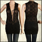 Salvage Vandal Lace Corset Tie Front Grommet Womens Knit Tank Top Black NEW XS-L