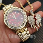 Iced Drip Broken Heart Necklace & Red Marble Face Gold plated Metal Watch Set image