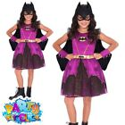 Kids Batgirl Catwoman Costume Childs Superhero Book Day Week Fancy Dress Outfit
