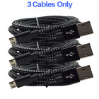 3Pack Micro USB Cable 10Ft Fast Charge Data Cord Samsung/ LG Android Charger Lot