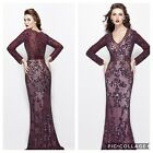 NWT PRIMAVERA COUTURE 1990 LONG SLEEVE EMBLISHED GOWN COLOR EGGPLANT MSRP 599