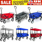 Folding Hand Cart Garden Wagon Trolley Pull-Along Festival Camping with Canopy