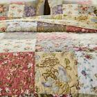 COZY SOFT PATCHWORK COUNTRY SHABBY IVORY PINK FLORAL ROSE GREEN BLUE QUILT SET image