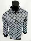 Mens Pavini Limited Ed. Shirt Slim Fit White with Black Check Plaid Button Front $14.95 USD on eBay
